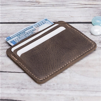 Ultra Slim  Brown Leather Card Holder Handmade